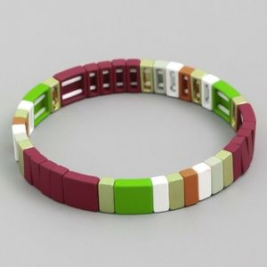 BURGUNDY TILE BLOCK BEAD COLORFUL STRETCH BRACELET